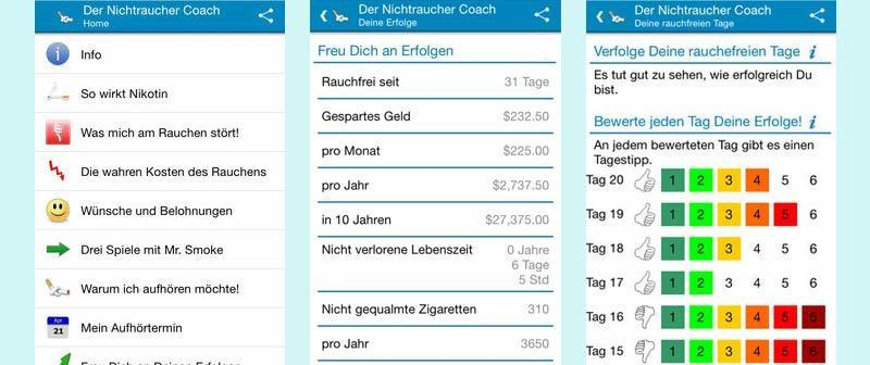 Rauchfrei App - Nichtraucher Coach App Screenshots